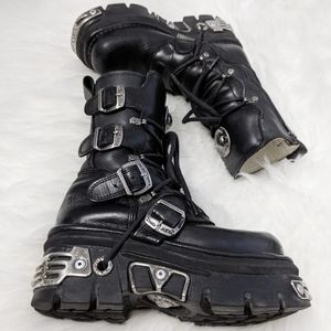 New Rock Reactor Leather Combat Boots Unisex 37